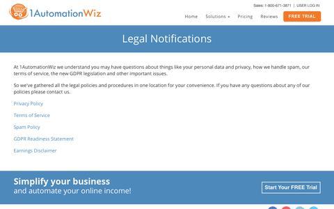 Screenshot of Terms Page 1automationwiz.com - 1AutomationWiz.com Legal Notices - captured Sept. 22, 2018