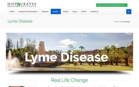 Screenshot of hippocratesinst.org - Lyme Disease - Hippocrates Health Institute - captured March 20, 2016