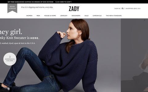 Screenshot of Home Page zady.com - A Lifestyle Destination For Conscious Consumers | Zady.com - captured Oct. 20, 2015