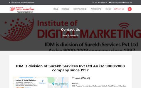Screenshot of Contact Page digitalmarketing.ac.in - Contact Us | Institute Of Digital Marketing - captured Nov. 28, 2019