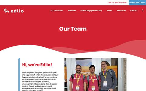 Screenshot of About Page Team Page edlio.com - About Us - Main Pages - Edlio - captured Jan. 20, 2019