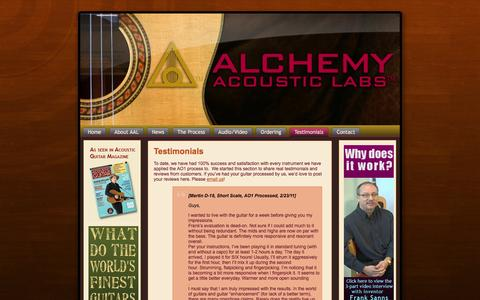 Screenshot of Testimonials Page alchemyacousticlabs.com - Testimonials | alchemy acoustic labs - captured Oct. 4, 2014