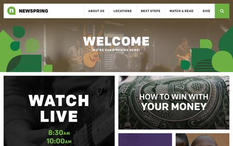 Screenshot of Home Page newspring.cc - Welcome! We're Glad You're Here | NewSpring Church - captured Sept. 23, 2014