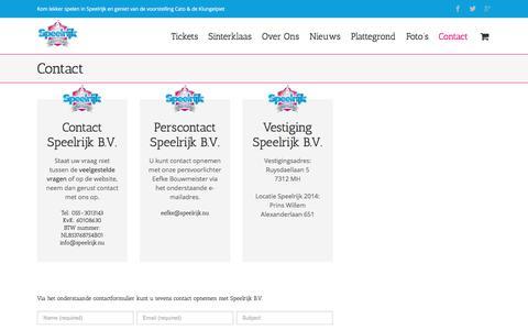 Screenshot of Contact Page speelrijk.nu - Contact - Speelrijk - captured Nov. 15, 2017
