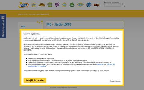 Screenshot of FAQ Page lotto.pl - FAQ - Studio LOTTO | Lotto, Kaskada, Multi Multi, Mini Lotto, Zdrapki - lotto.pl - captured Sept. 21, 2018