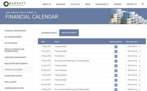 Screenshot of barrattdevelopments.co.uk - Financial calendar – Barratt Developments Plc - captured March 20, 2016