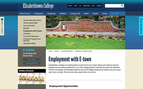 Screenshot of Jobs Page etown.edu - Elizabethtown College -Careers at Elizabethtown - captured Jan. 27, 2016
