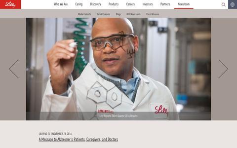 Screenshot of Press Page lilly.com - Newsroom - captured Nov. 24, 2016