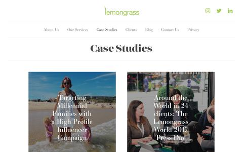 Screenshot of Case Studies Page lemongrassmarketing.com - Case Studies | Lemongrass Marketing - captured July 18, 2018