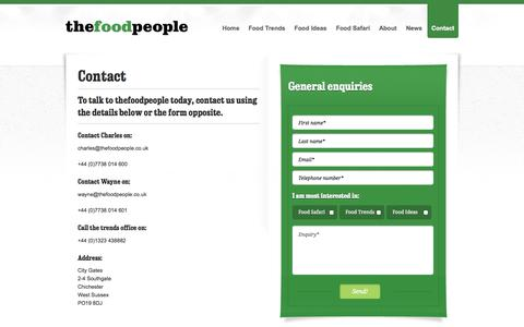 Screenshot of Contact Page thefoodpeople.co.uk - Contact details for thefoodpeople, a unique food trends and ideas agency | The Food People - captured Oct. 9, 2014