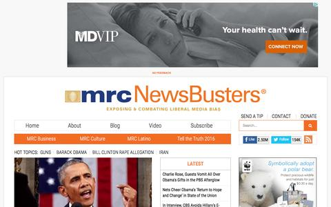 Screenshot of Home Page newsbusters.org - NewsBusters - captured Jan. 13, 2016