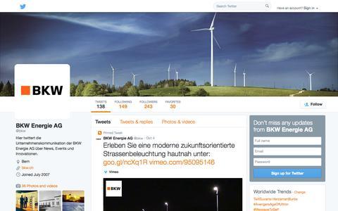 Screenshot of Twitter Page twitter.com - BKW Energie AG (@bkw) | Twitter - captured Oct. 23, 2014