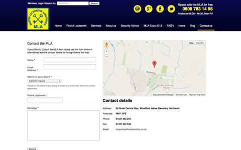 Screenshot of Contact Page locksmiths.co.uk - Contact the MLA | Locksmith Training | Master Locksmiths Association - captured Oct. 27, 2014