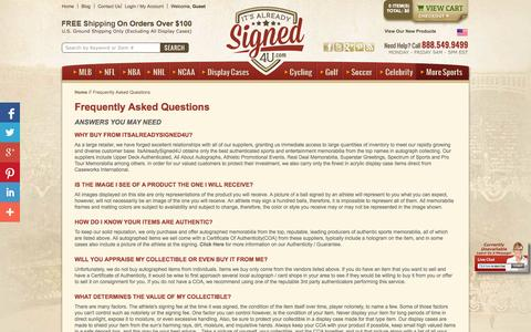 Screenshot of FAQ Page itsalreadysigned4u.com - Frequently Asked Questions - captured Oct. 1, 2014