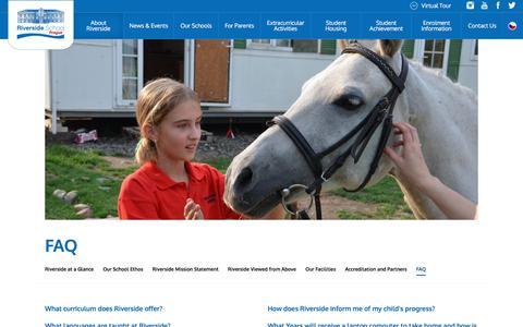 Screenshot of FAQ Page riversideschool.cz - FAQ - Riverside International School in Prague - captured Sept. 23, 2018