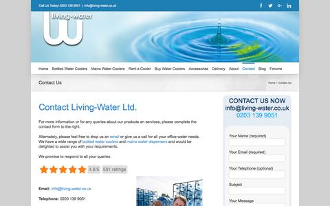 Screenshot of Contact Page living-water.co.uk - Contact Living-Water |Water Cooler Supplier & Deliveries - captured Nov. 10, 2016