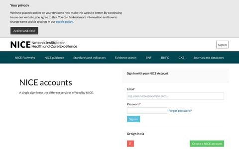 Screenshot of Login Page nice.org.uk - Sign in | NICE Accounts | provided by National Institute for Health and Care Excellence - captured June 6, 2019