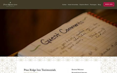 Screenshot of Testimonials Page pineridgeinn.com - Bend Hotel Reviews | Pine Ridge Inn - captured July 2, 2018