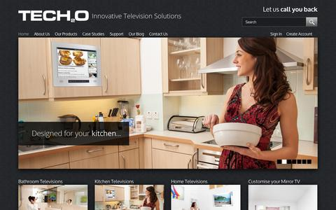 Screenshot of Home Page tech2o.tv - Waterproof Bathroom, Mirror & Outdoor Televisions | Tech2o - captured Oct. 7, 2014