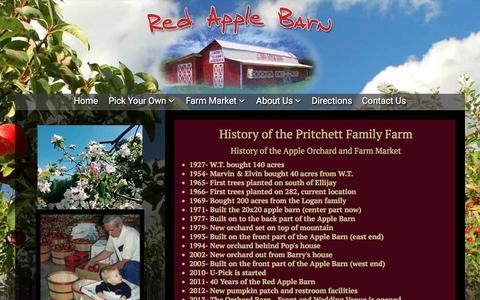Screenshot of About Page redapplebarn.com - History of Red Apple Barn & Pritchett Family, Ellijay, Ga - Red Apple Barn - captured Jan. 10, 2016