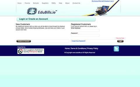 Screenshot of Login Page edubills.ie - Customer Login - captured Sept. 29, 2014