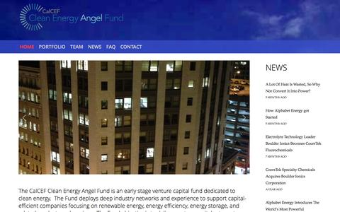 Screenshot of Home Page calcefangelfund.com - California Clean Energy Angel Fund - captured Jan. 24, 2016