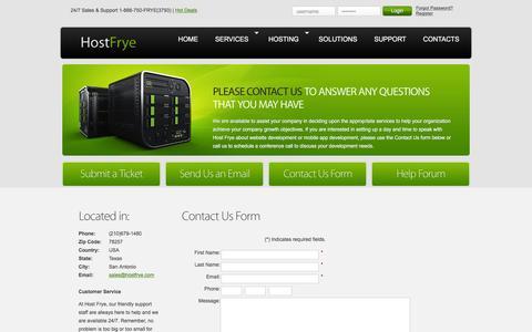 Screenshot of Contact Page hostfrye.com - HostFrye | Contacts - captured Dec. 12, 2015