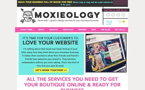 Screenshot of Home Page moxieologyinc.com - Moxieology | Boutique Logo and Website Design for Handmade Business - captured June 28, 2016