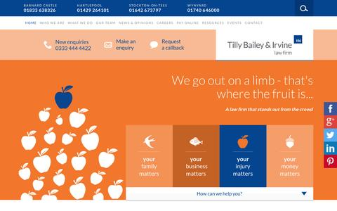 Screenshot of Home Page tbilaw.co.uk - Tilly Bailey & Irvine Law Firm | Offices In Hartlepool, Wynyard, Stockton & Barnard Castle - captured Feb. 17, 2016