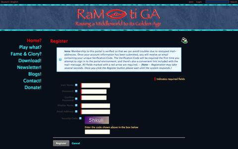 Screenshot of Signup Page ramtiga.com - Raising a Middleworld to its Golden Age > Home - captured Oct. 26, 2014