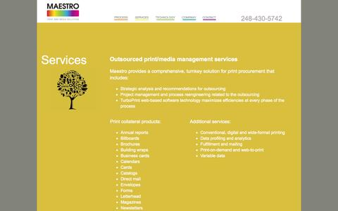 Screenshot of Services Page maestromps.com - Outsourced print and media management services - Maestro Print and Media Solutions - captured Oct. 1, 2014