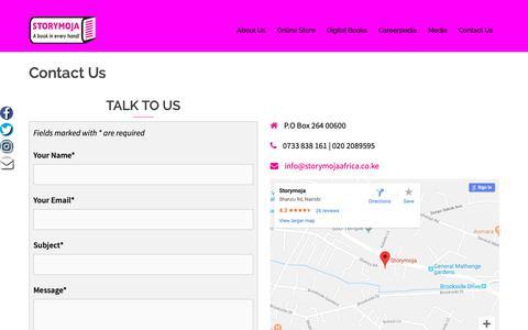 Screenshot of Contact Page storymojaafrica.co.ke - Contact Us - Storymoja - captured Oct. 20, 2018