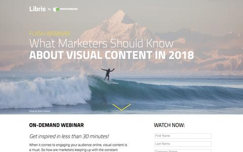 Screenshot of Landing Page photoshelter.com - Flash Webinar: What Marketers Should Know About Visual Content in 2018 - captured Sept. 20, 2018
