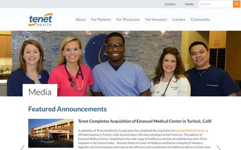 Screenshot of Press Page tenethealth.com - Media - Tenet Healthcare - captured Sept. 22, 2014