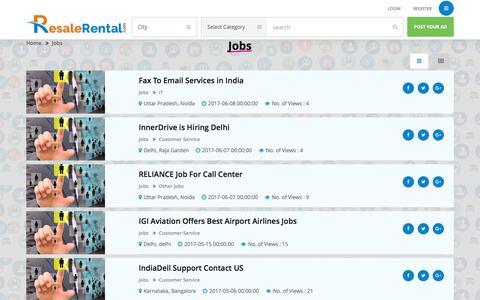 Screenshot of Jobs Page resalerental.com - Jobs Ads List | FREE Jobs Advertising - captured June 14, 2017