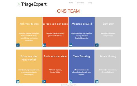 Screenshot of Team Page triageexpert.nl - TriageExpert | Team - captured Oct. 20, 2018