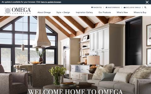 Screenshot of Home Page omegacabinetry.com - Custom Cabinets – Bathroom & Kitchen Cabinetry – Omega - captured June 15, 2016