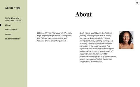 Screenshot of About Page kanbeyoga.com - KanBe Yoga - About - captured Sept. 20, 2018