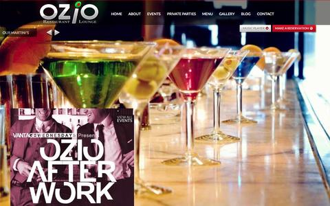 Screenshot of Home Page oziodc.com - Ozio Restaurant and Cocktail Lounge - Bar in Downtown Washington D.C. - captured Jan. 27, 2015