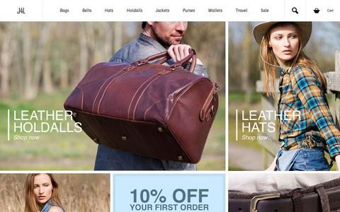 Screenshot of Home Page just4leather.co.uk - Leather Bags, Belts, Purses & Wallets – Mens & Womens Designer Leather Products from Just4Leather - captured Sept. 19, 2015