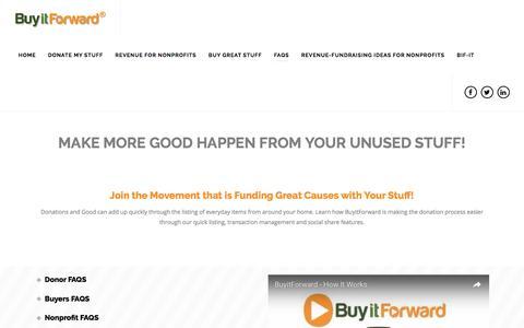 Screenshot of FAQ Page buyitforward.net - FAQs | BuyitForward - captured July 31, 2016