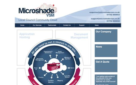 Screenshot of Home Page microshadevsm.co.uk - Local Council Community Cloud Computing, GDPR, Security - captured Sept. 20, 2018
