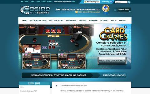 Screenshot of Contact Page casinowebscripts.com - Contact CasinoWebScripts via web form - captured Sept. 19, 2014