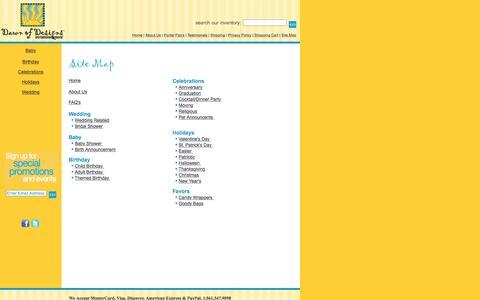 Screenshot of Site Map Page dawnofdesigns.com - Original Custom Invitations by Dawn of Designs - captured Jan. 26, 2017