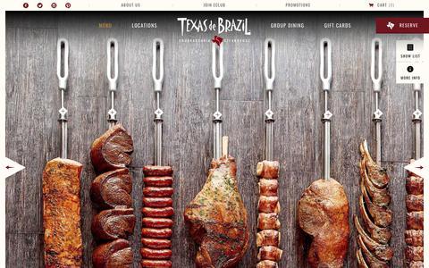 Screenshot of Menu Page texasdebrazil.com - Meats Menu   Texas de Brazil - captured Sept. 23, 2018