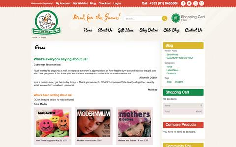 Screenshot of Press Page gagababy.ie - Press - captured Oct. 1, 2014