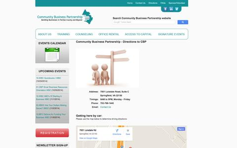 Screenshot of Maps & Directions Page cbponline.org - Northern Virginia | Community Business Partnership | CBP | Directions - captured Oct. 23, 2014