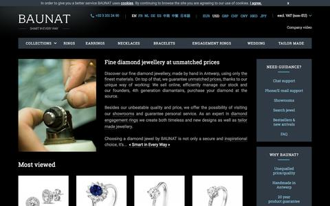 Screenshot of Home Page baunat.com - BAUNAT   Buy diamond jewels   Antwerp - captured May 8, 2017