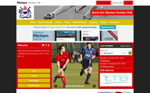 Screenshot of Home Page pitchero.com - Burnt Ash (Bexley) Hockey Club - captured Oct. 9, 2015