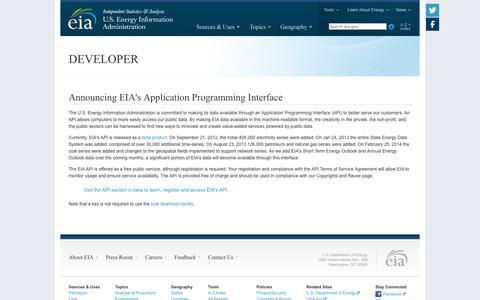 Screenshot of Developers Page eia.gov - U.S. Energy Information Administration (EIA) - captured Sept. 18, 2014